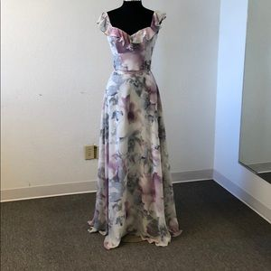 Grey and purple floral chiffon gown
